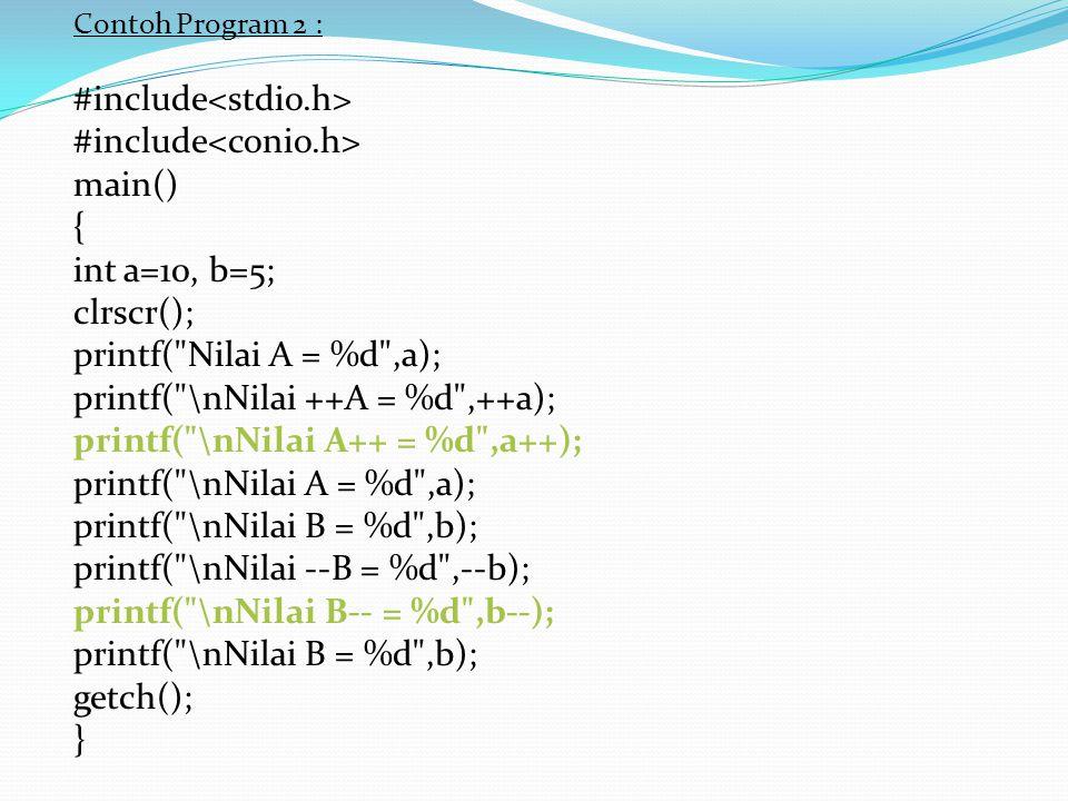 Contoh Program 2 : #include main() { int a=10, b=5; clrscr(); printf(