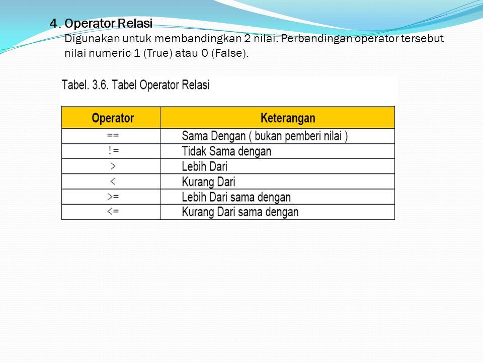 4. Operator Relasi Digunakan untuk membandingkan 2 nilai. Perbandingan operator tersebut nilai numeric 1 (True) atau 0 (False).