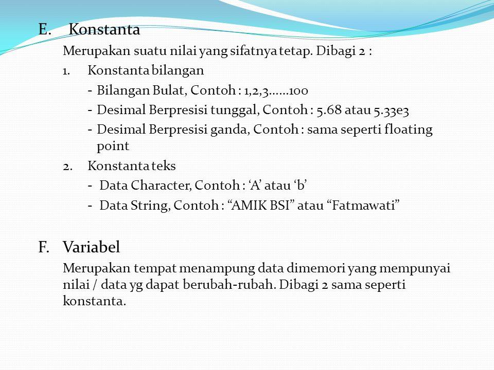 G.Perintah Masukan & Keluaran > Masukan> Keluaran scanf - printf gets - puts getch - putchar getche - cout cin Contoh Gabungan :