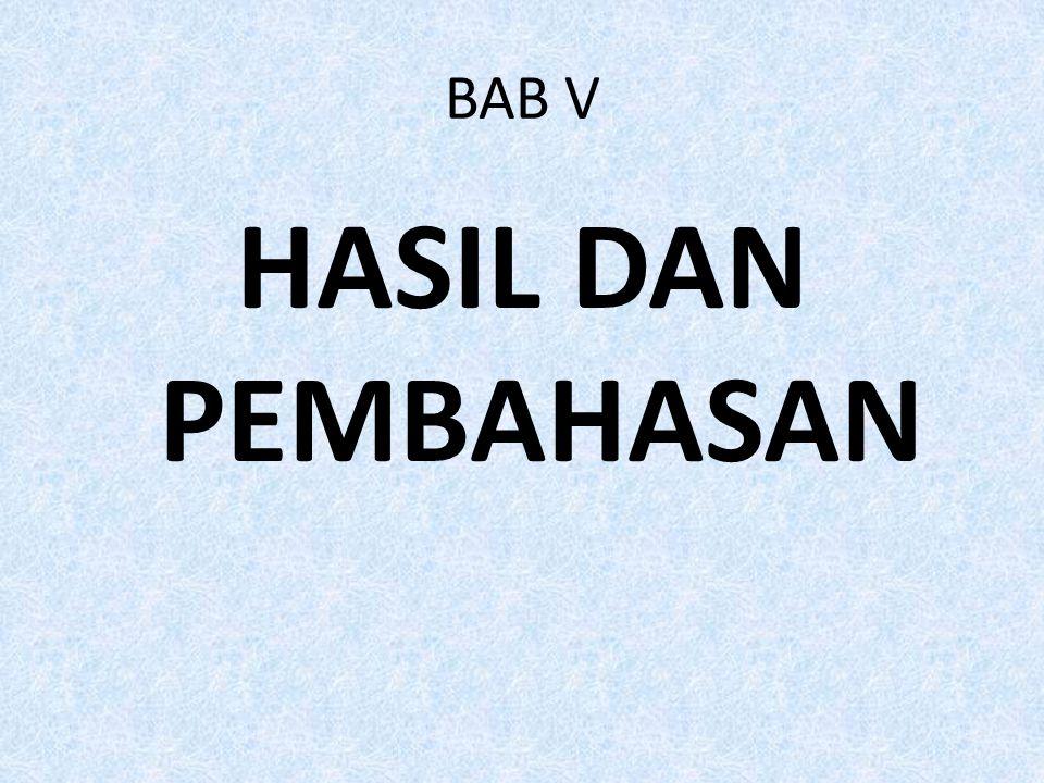 BAB V HASIL DAN PEMBAHASAN