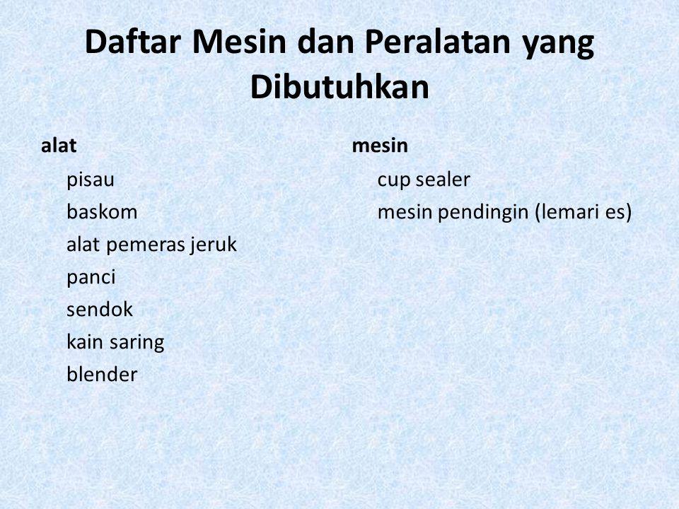 Daftar Mesin dan Peralatan yang Dibutuhkan alat pisau baskom alat pemeras jeruk panci sendok kain saring blender mesin cup sealer mesin pendingin (lem