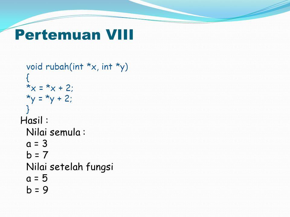 Pertemuan VIII void rubah(int *x, int *y) { *x = *x + 2; *y = *y + 2; } Hasil : Nilai semula : a = 3 b = 7 Nilai setelah fungsi a = 5 b = 9