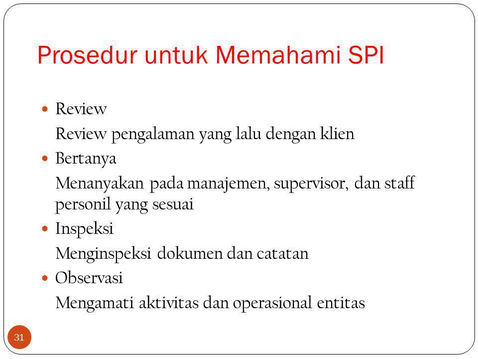 31 Review Review pengalaman yang lalu dengan klien Bertanya Menanyakan pada manajemen, supervisor, dan staff personil yang sesuai Inspeksi Menginspeksi dokumen dan catatan Observasi Mengamati aktivitas dan operasional entitas Prosedur untuk Memahami SPI