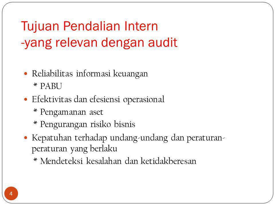 4 Reliabilitas informasi keuangan *PABU Efektivitas dan efesiensi operasional *Pengamanan aset *Pengurangan risiko bisnis Kepatuhan terhadap undang-undang dan peraturan- peraturan yang berlaku *Mendeteksi kesalahan dan ketidakberesan Tujuan Pendalian Intern -yang relevan dengan audit