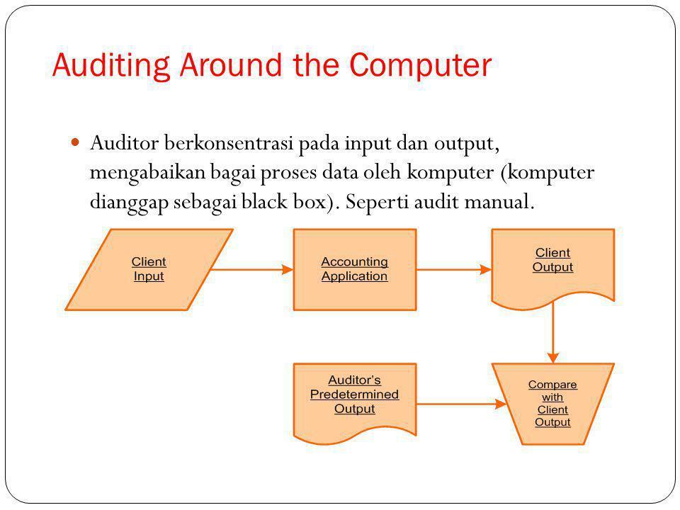 Auditor berkonsentrasi pada input dan output, mengabaikan bagai proses data oleh komputer (komputer dianggap sebagai black box).