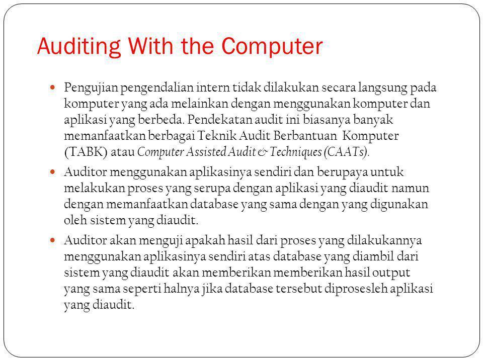Pengujian pengendalian intern tidak dilakukan secara langsung pada komputer yang ada melainkan dengan menggunakan komputer dan aplikasi yang berbeda.