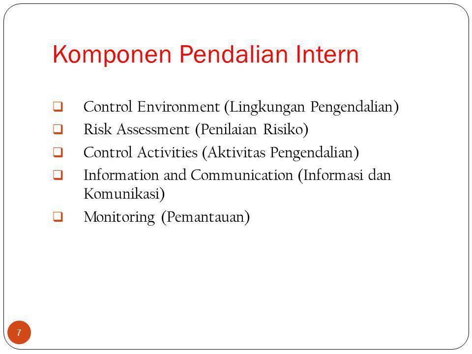 7  Control Environment (Lingkungan Pengendalian)  Risk Assessment (Penilaian Risiko)  Control Activities (Aktivitas Pengendalian)  Information and Communication (Informasi dan Komunikasi)  Monitoring (Pemantauan) Komponen Pendalian Intern