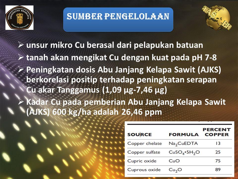  unsur mikro Cu berasal dari pelapukan batuan  tanah akan mengikat Cu dengan kuat pada pH 7-8  Peningkatan dosis Abu Janjang Kelapa Sawit (AJKS) berkorelasi positip terhadap peningkatan serapan Cu akar Tanggamus (1,09 μg-7,46 μg)  Kadar Cu pada pemberian Abu Janjang Kelapa Sawit (AJKS) 600 kg/ha adalah 26,46 ppm SUMBER PENGELOLAAN