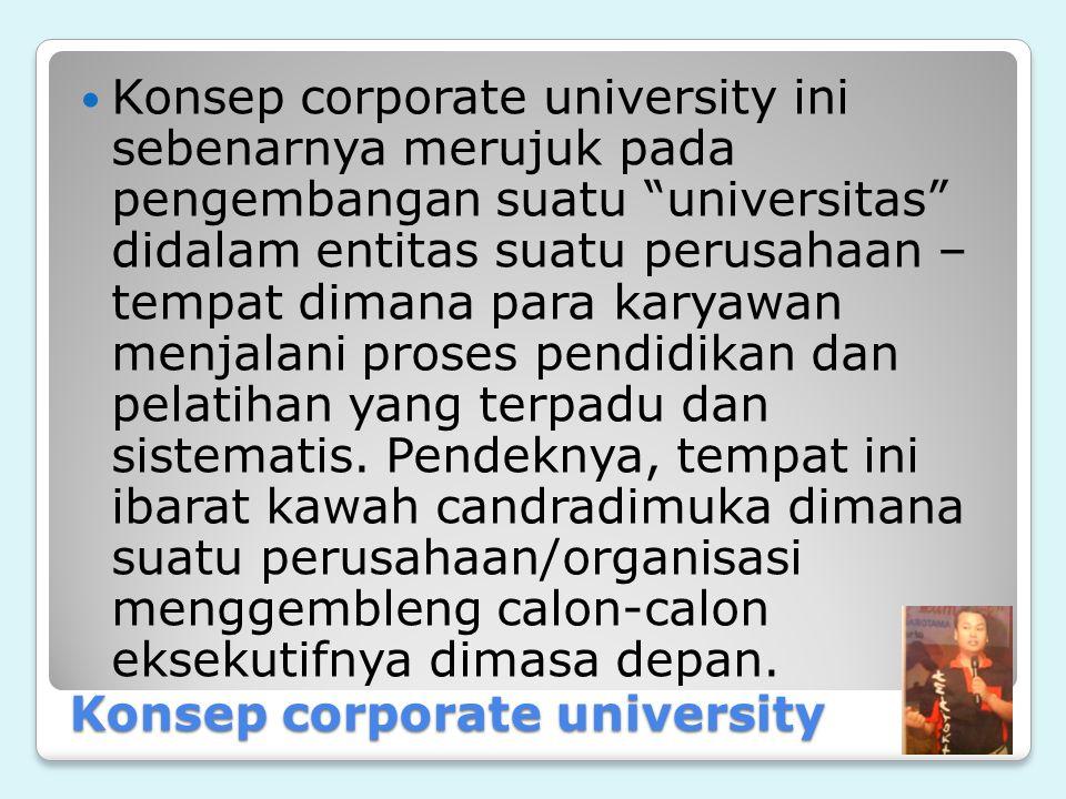 Konsep corporate university Konsep corporate university ini sebenarnya merujuk pada pengembangan suatu universitas didalam entitas suatu perusahaan – tempat dimana para karyawan menjalani proses pendidikan dan pelatihan yang terpadu dan sistematis.