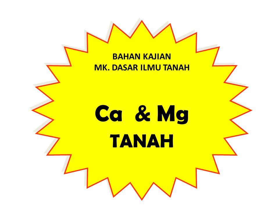BAHAN KAJIAN MK. DASAR ILMU TANAH Ca & Mg TANAH