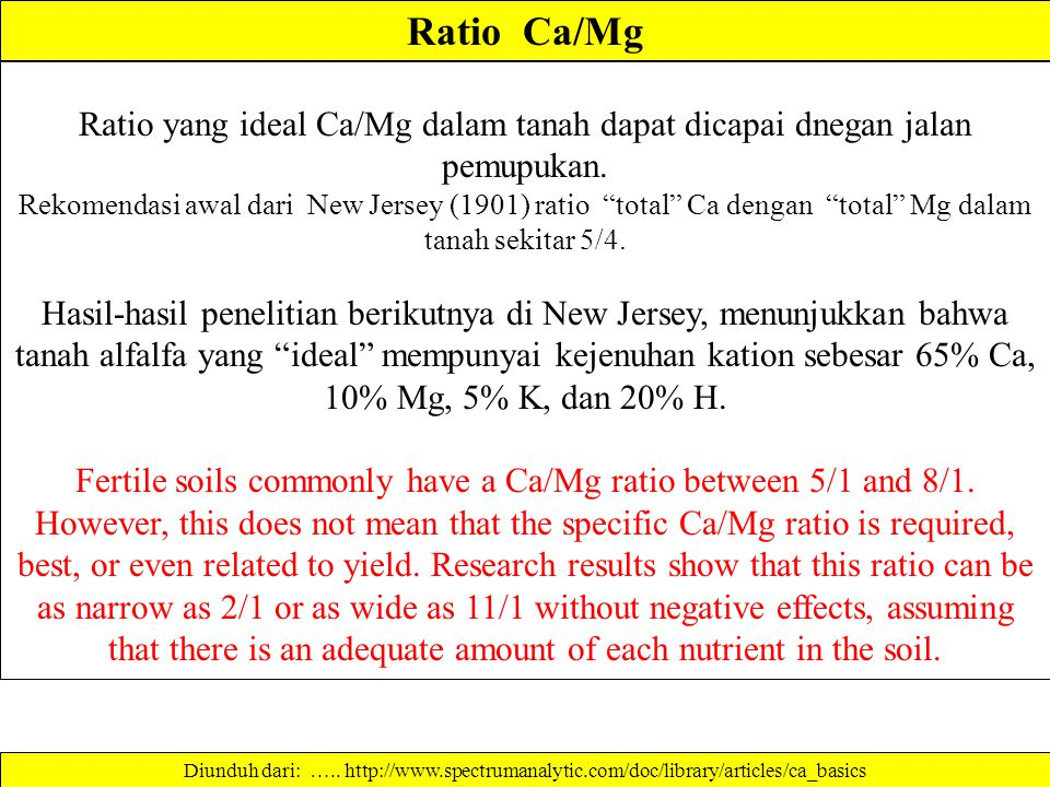 * Calcium content is not the same as neutralizing value. Neutralizing value is determined by the combined amounts of calcium carbonate (CaCO 3 ), magn