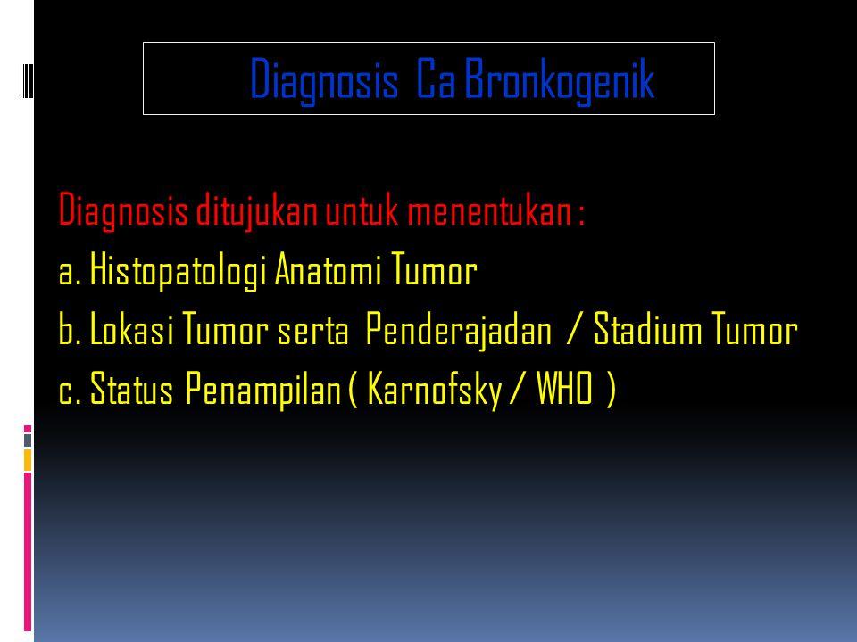 Diagnosis Ca Bronkogenik Diagnosis ditujukan untuk menentukan : a.