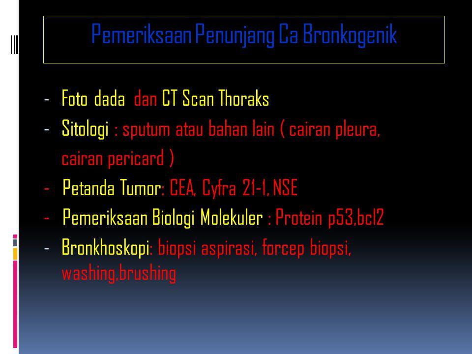 Pemeriksaan Penunjang Ca Bronkogenik - Foto dada dan CT Scan Thoraks - Sitologi : sputum atau bahan lain ( cairan pleura, cairan pericard ) - Petanda Tumor: CEA, Cyfra 21-1, NSE - Pemeriksaan Biologi Molekuler : Protein p53,bcl2 - Bronkhoskopi: biopsi aspirasi, forcep biopsi, washing,brushing