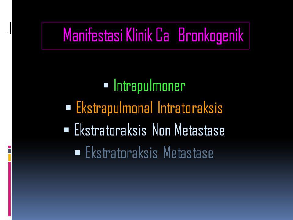 Manifestasi Klinik Ca Bronkogenik  Intrapulmoner  Ekstrapulmonal Intratoraksis  Ekstratoraksis Non Metastase  Ekstratoraksis Metastase