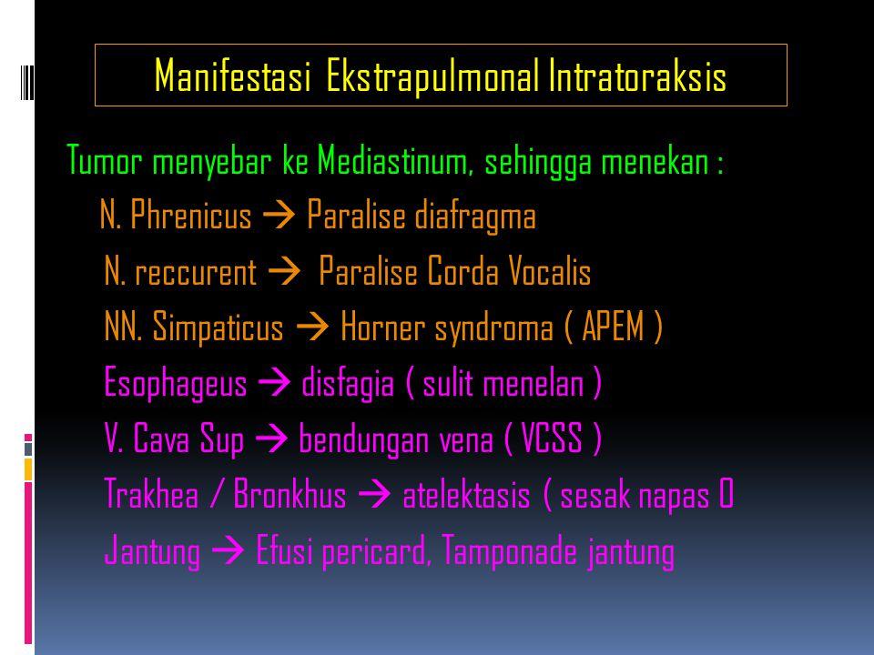 Penderajatan Tumor Paru ( NSSC ) StageTNM 0IAIBIIAIIBIIIAIIIBIV Tis, No, Mo T1, No, Mo T2, No, Mo T1, N1, Mo T2, N1, Mo / T3, No, Mo T1, N2, Mo / T2, N2, Mo / T3, N1, Mo / T3, N1, Mo.