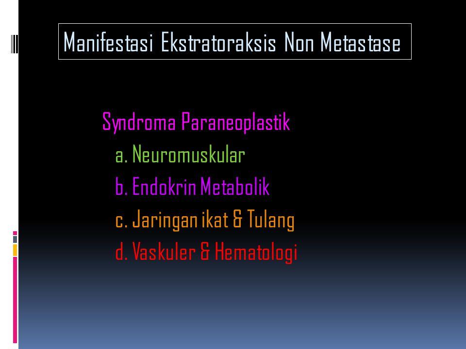 Gejala Neuropatia Karsinomatosa  - Miopati - Neuropati Perifer - Ensefalomiopati - Mielopati Nekrotik - Degenerasi Cerebelar Sub akut Syndroma Paraneoplastik