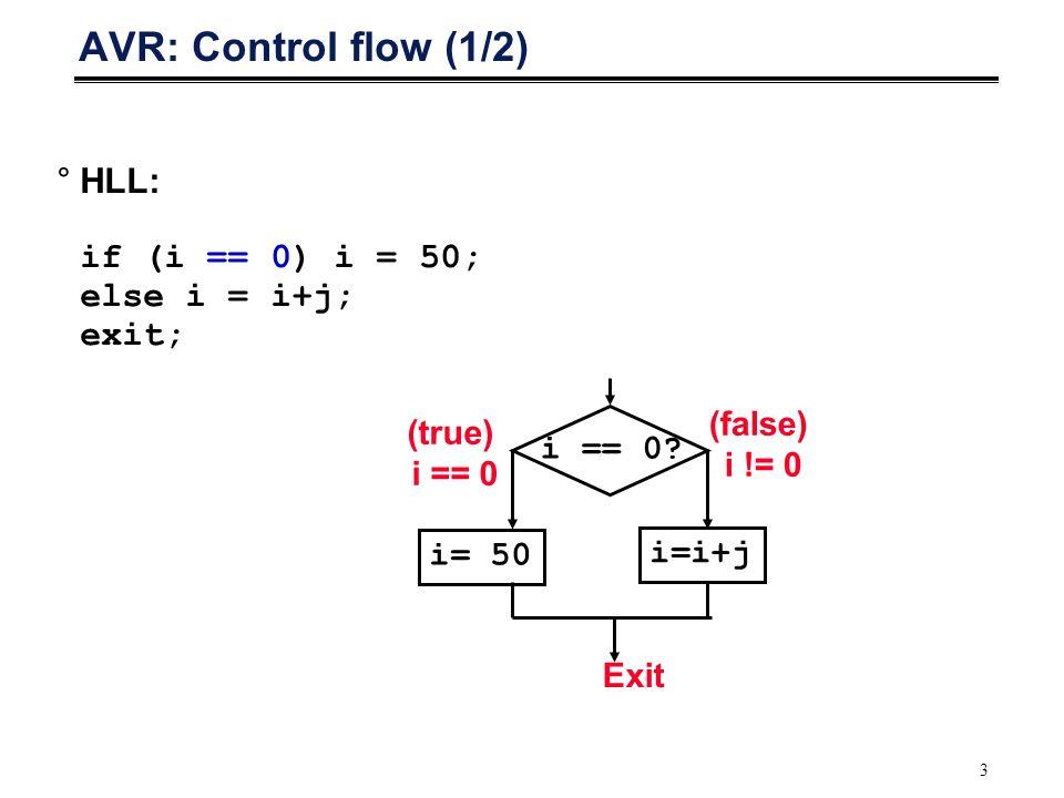 4 AVR: Control Flow (2/2) °Condition Codes Prosesor menyimpan hasil dan status ekeskusi suatu instruksi.