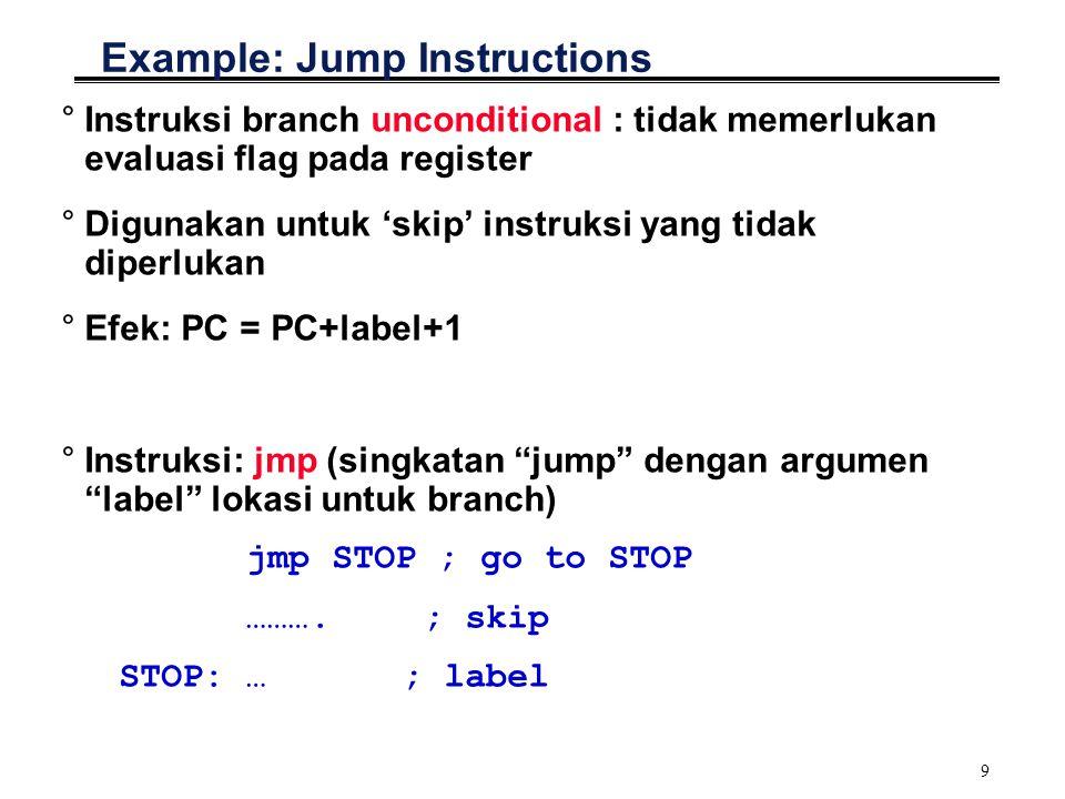 9 Example: Jump Instructions °Instruksi branch unconditional : tidak memerlukan evaluasi flag pada register °Digunakan untuk 'skip' instruksi yang tidak diperlukan °Efek: PC = PC+label+1 °Instruksi: jmp (singkatan jump dengan argumen label lokasi untuk branch) jmp STOP ; go to STOP ……….
