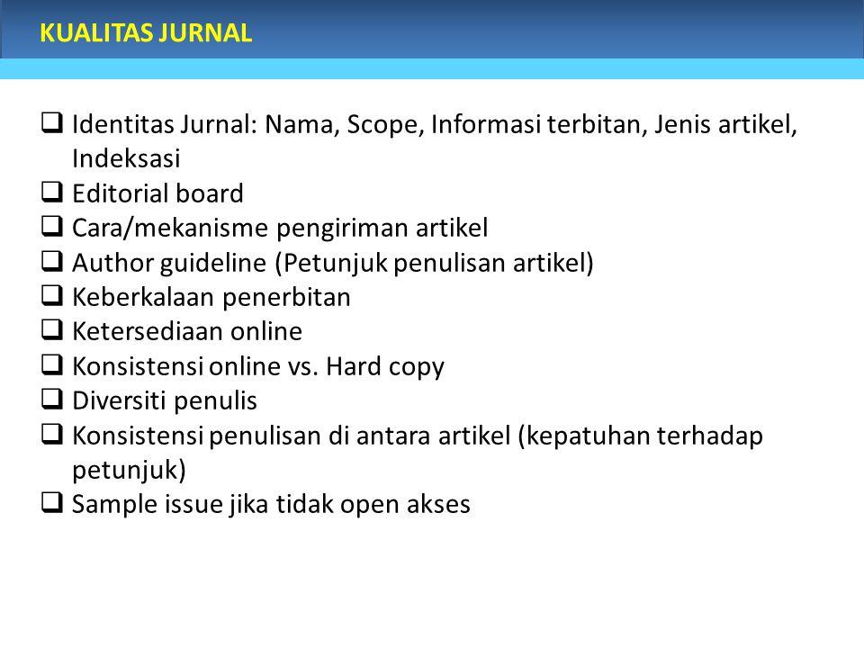 KUALITAS JURNAL  Identitas Jurnal: Nama, Scope, Informasi terbitan, Jenis artikel, Indeksasi  Editorial board  Cara/mekanisme pengiriman artikel 