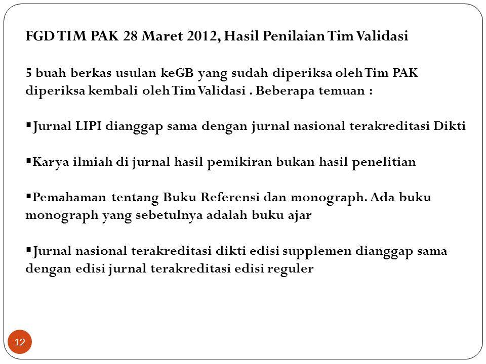 FGD TIM PAK 28 Maret 2012, Hasil Penilaian Tim Validasi 5 buah berkas usulan keGB yang sudah diperiksa oleh Tim PAK diperiksa kembali oleh Tim Validas