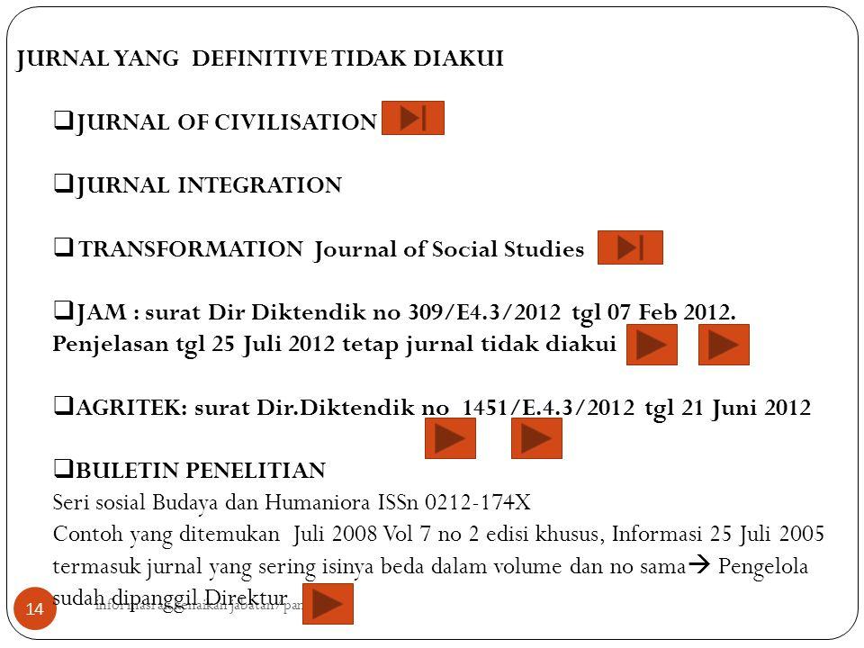 informasi ak kenaikan jabatan/pangkat 14 JURNAL YANG DEFINITIVE TIDAK DIAKUI  JURNAL OF CIVILISATION  JURNAL INTEGRATION  TRANSFORMATION Journal of