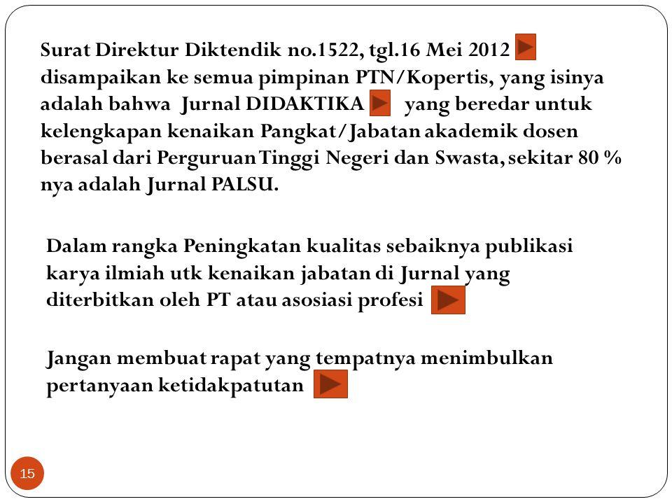 Surat Direktur Diktendik no.1522, tgl.16 Mei 2012 disampaikan ke semua pimpinan PTN/Kopertis, yang isinya adalah bahwa Jurnal DIDAKTIKA yang beredar u