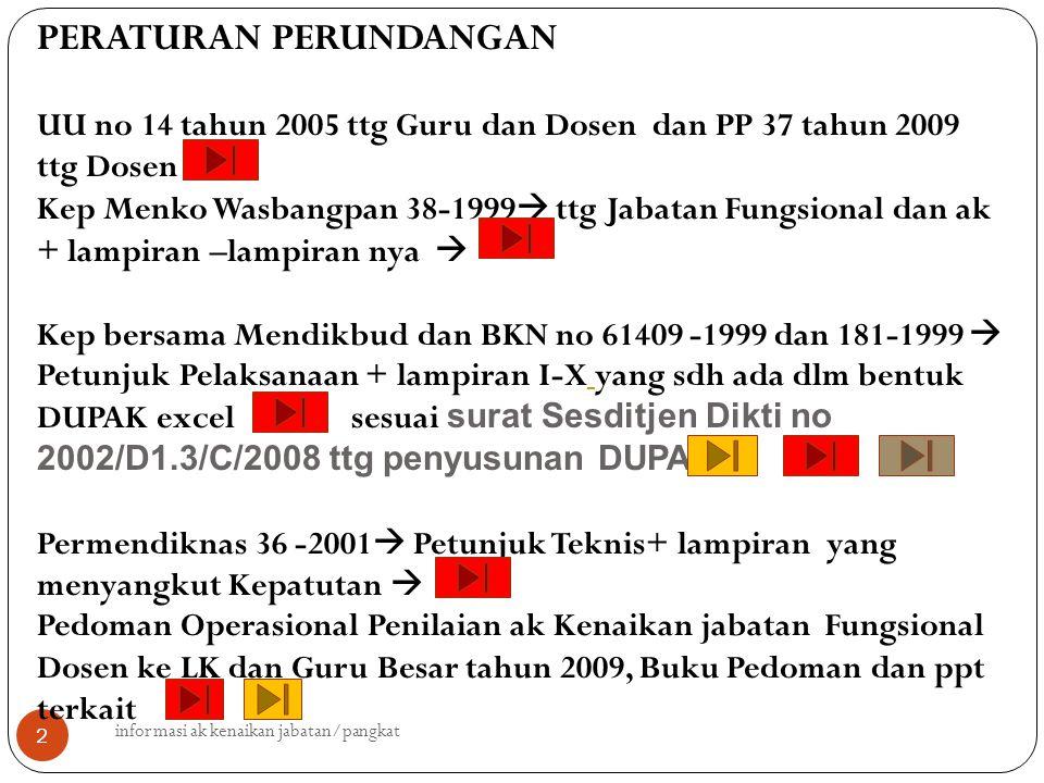 2 PERATURAN PERUNDANGAN UU no 14 tahun 2005 ttg Guru dan Dosen dan PP 37 tahun 2009 ttg Dosen Kep Menko Wasbangpan 38-1999  ttg Jabatan Fungsional da