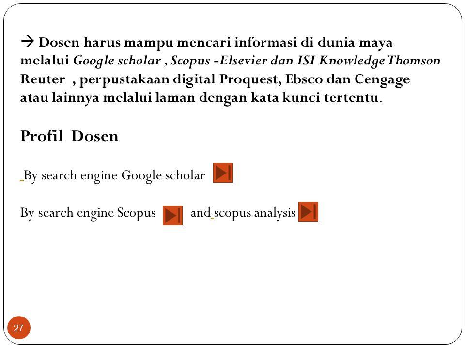 27  Dosen harus mampu mencari informasi di dunia maya melalui Google scholar, Scopus -Elsevier dan ISI Knowledge Thomson Reuter, perpustakaan digital