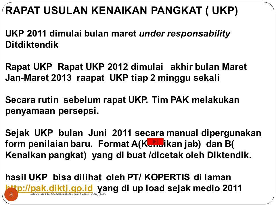 RAPAT USULAN KENAIKAN PANGKAT ( UKP) UKP 2011 dimulai bulan maret under responsability Ditdiktendik Rapat UKP Rapat UKP 2012 dimulai akhir bulan Maret