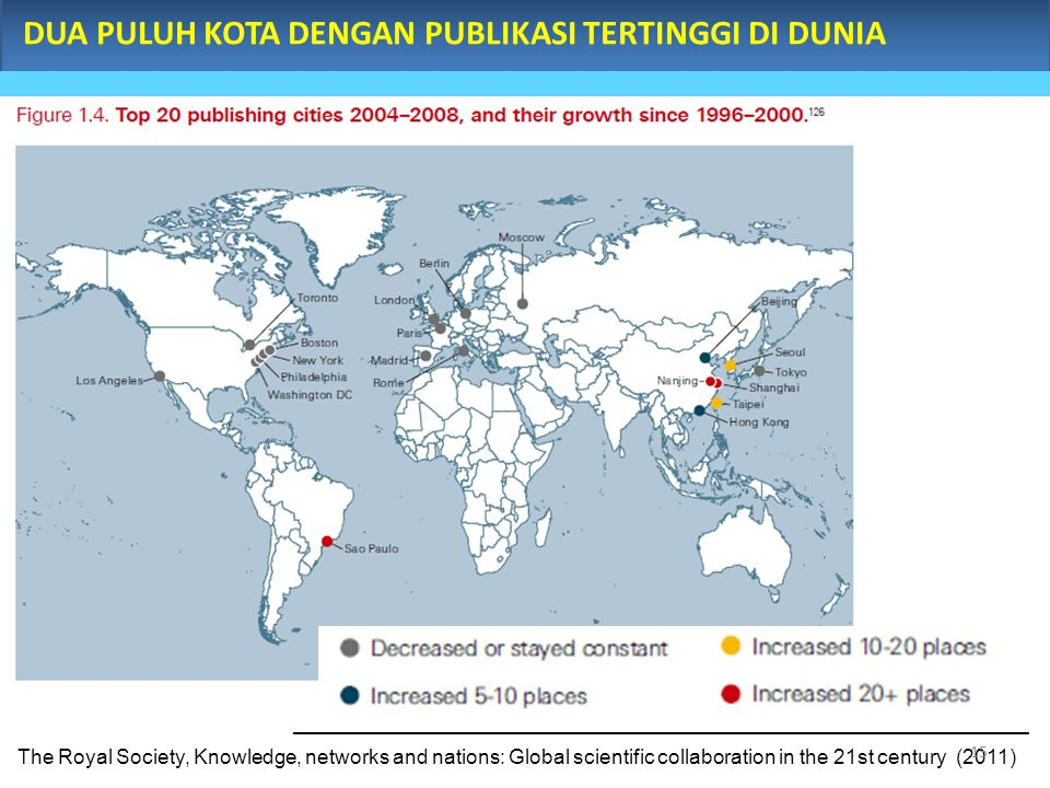 DUA PULUH KOTA DENGAN PUBLIKASI TERTINGGI DI DUNIA The Royal Society, Knowledge, networks and nations: Global scientific collaboration in the 21st century (2011) 15