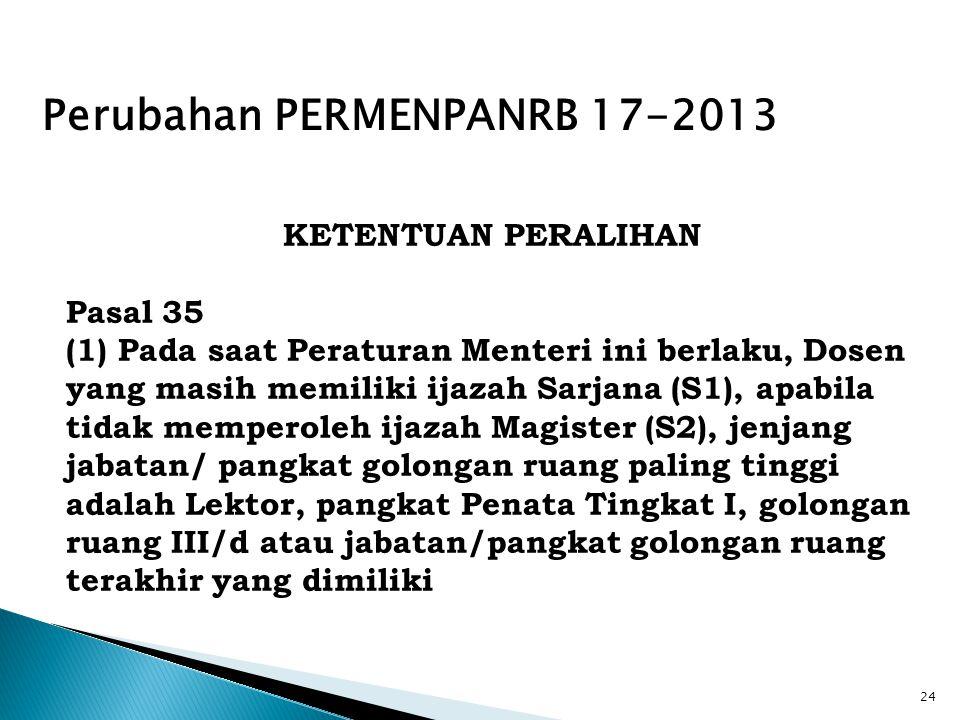 24 KETENTUAN PERALIHAN Pasal 35 (1) Pada saat Peraturan Menteri ini berlaku, Dosen yang masih memiliki ijazah Sarjana (S1), apabila tidak memperoleh i
