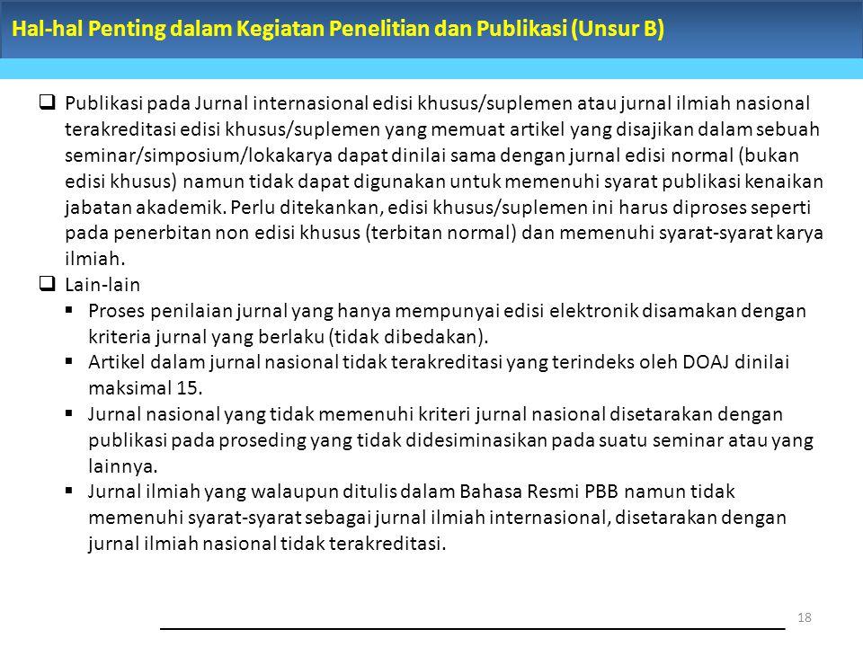 Hal-hal Penting dalam Kegiatan Penelitian dan Publikasi (Unsur B) 18  Publikasi pada Jurnal internasional edisi khusus/suplemen atau jurnal ilmiah na