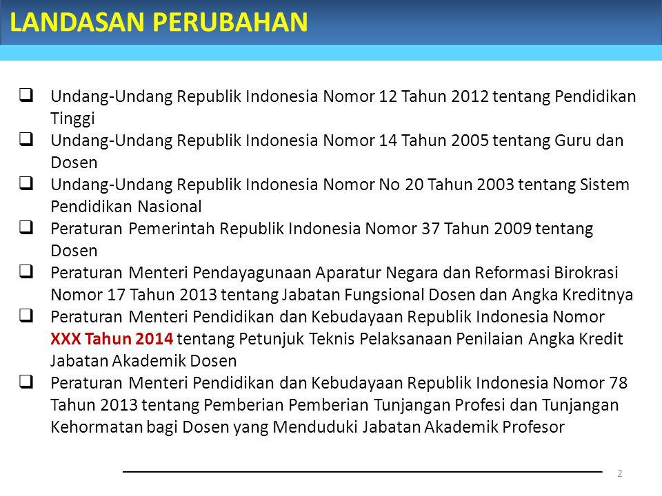 LANDASAN PERUBAHAN 2  Undang-Undang Republik Indonesia Nomor 12 Tahun 2012 tentang Pendidikan Tinggi  Undang-Undang Republik Indonesia Nomor 14 Tahu