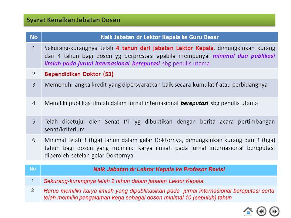 Syarat Kenaikan Jabatan Dosen NoNaik Jabatan dr Lektor Kepala ke Guru Besar 1Sekurang-kurangnya telah 4 tahun dari jabatan Lektor Kepala, dimungkinkan