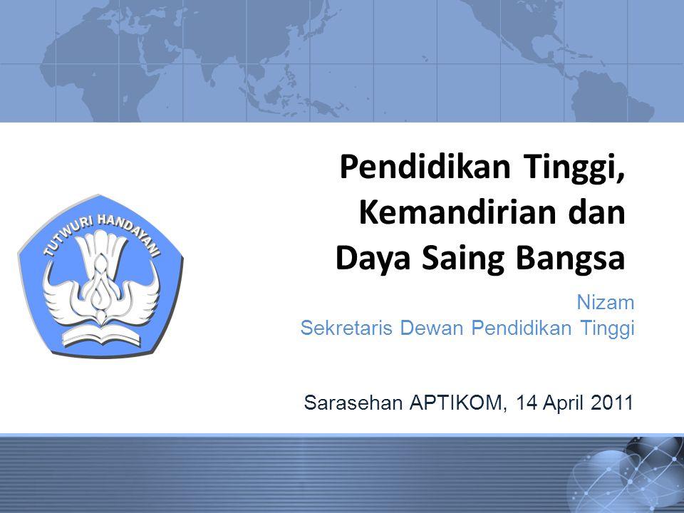 Pendidikan Tinggi, Kemandirian dan Daya Saing Bangsa Nizam Sekretaris Dewan Pendidikan Tinggi Sarasehan APTIKOM, 14 April 2011