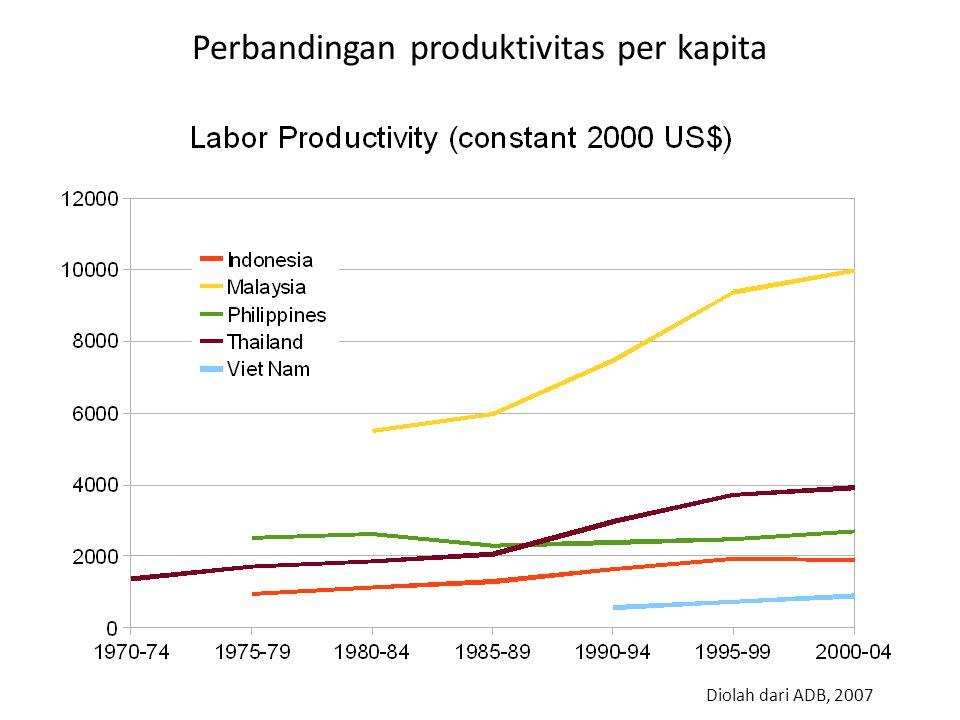 Perbandingan produktivitas per kapita Diolah dari ADB, 2007