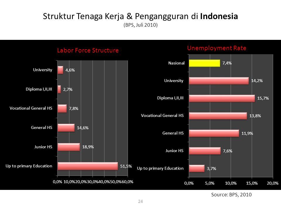 Struktur Tenaga Kerja & Pengangguran di Indonesia (BPS, Juli 2010) 24 Source: BPS, 2010