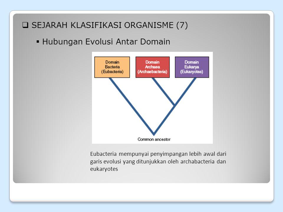  SEJARAH KLASIFIKASI ORGANISME (8)  Hubungan Evolusi Antar Domain Penetuan Hubungan diantara organisme.
