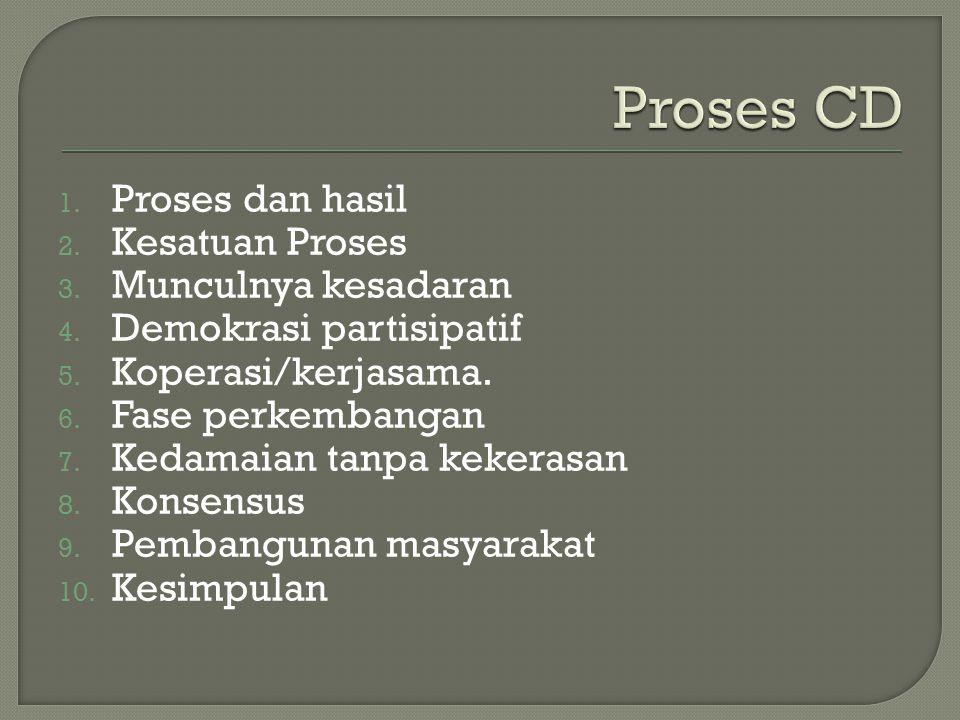 1. Proses dan hasil 2. Kesatuan Proses 3. Munculnya kesadaran 4. Demokrasi partisipatif 5. Koperasi/kerjasama. 6. Fase perkembangan 7. Kedamaian tanpa