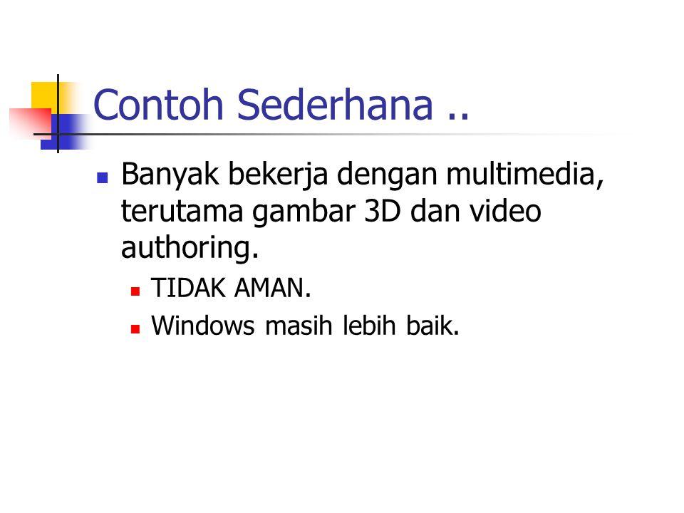 Contoh Sederhana.. Banyak bekerja dengan multimedia, terutama gambar 3D dan video authoring.