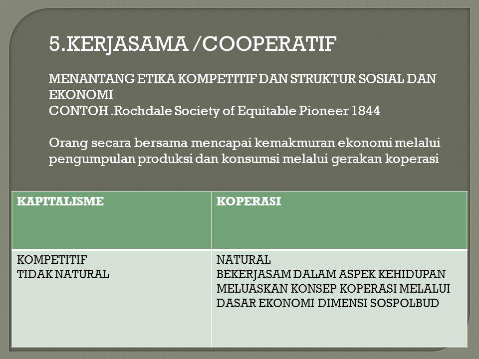 5.KERJASAMA /COOPERATIF MENANTANG ETIKA KOMPETITIF DAN STRUKTUR SOSIAL DAN EKONOMI CONTOH.Rochdale Society of Equitable Pioneer 1844 Orang secara bers