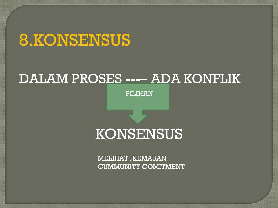 8.KONSENSUS DALAM PROSES ---– ADA KONFLIK KONSENSUS PILIHAN MELIHAT, KEMAUAN, CUMMUNITY COMITMENT