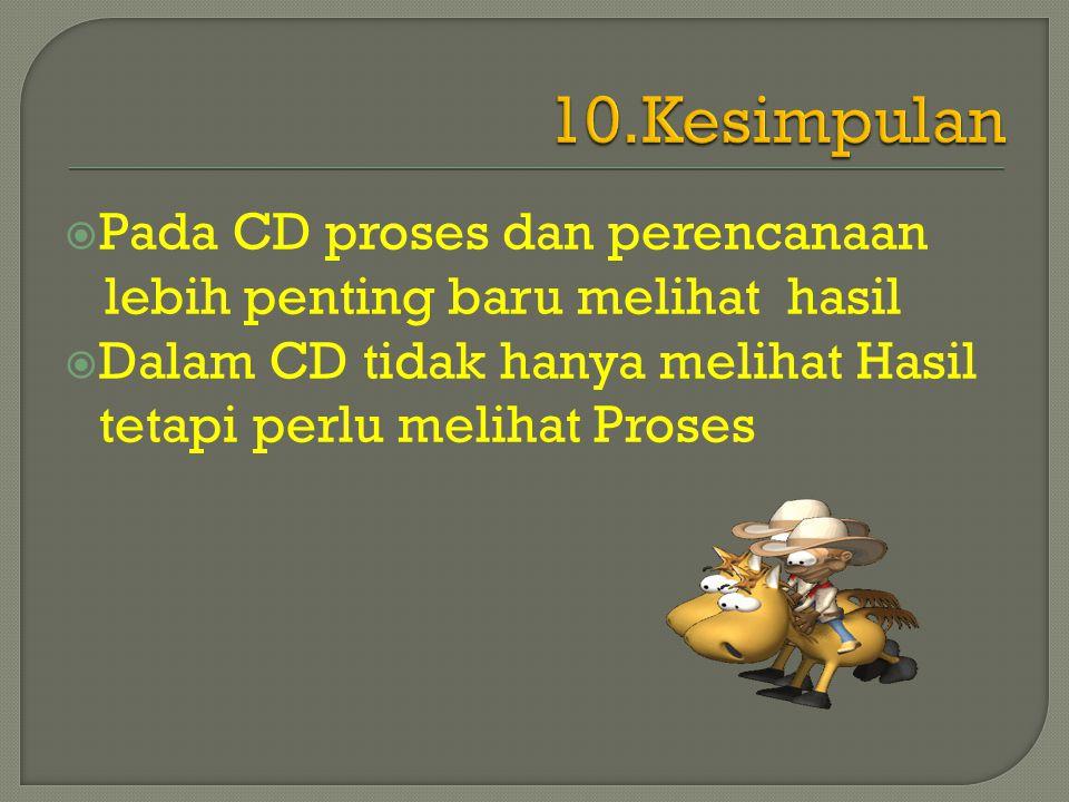  Pada CD proses dan perencanaan lebih penting baru melihat hasil  Dalam CD tidak hanya melihat Hasil tetapi perlu melihat Proses