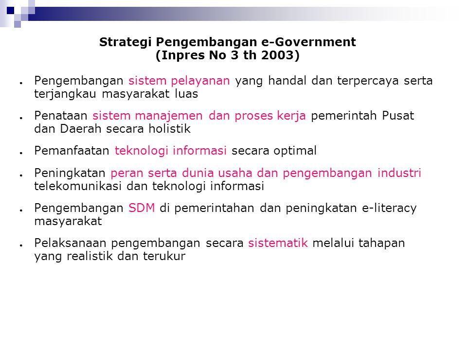 Strategi Pengembangan e-Government (Inpres No 3 th 2003) ● Pengembangan sistem pelayanan yang handal dan terpercaya serta terjangkau masyarakat luas ●