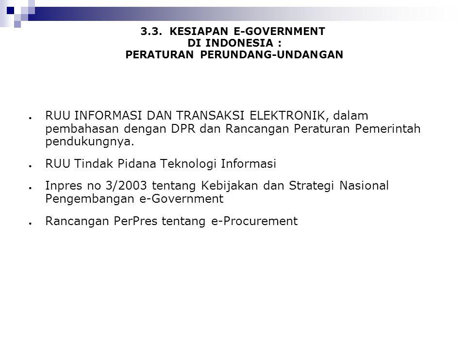 3.3. KESIAPAN E-GOVERNMENT DI INDONESIA : PERATURAN PERUNDANG-UNDANGAN ● RUU INFORMASI DAN TRANSAKSI ELEKTRONIK, dalam pembahasan dengan DPR dan Ranca