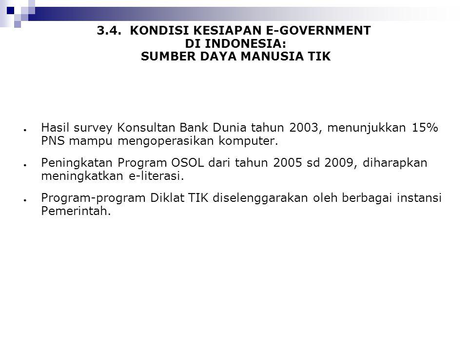 3.4. KONDISI KESIAPAN E-GOVERNMENT DI INDONESIA: SUMBER DAYA MANUSIA TIK ● Hasil survey Konsultan Bank Dunia tahun 2003, menunjukkan 15% PNS mampu men