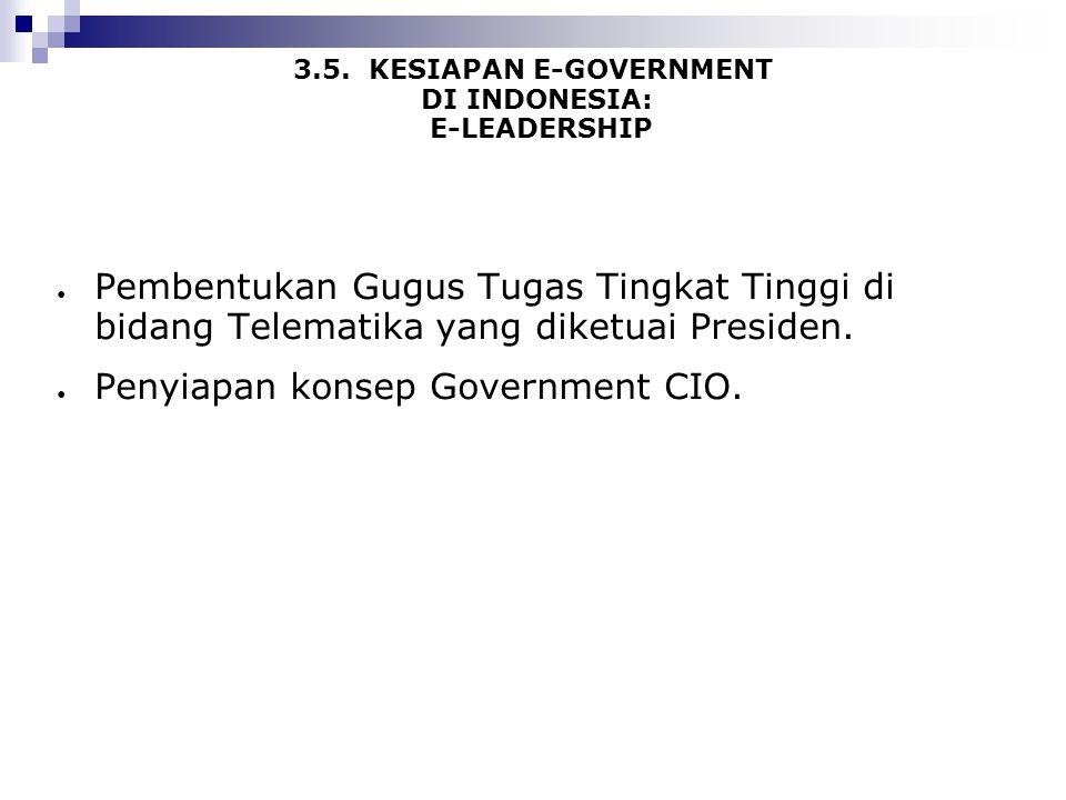 3.5. KESIAPAN E-GOVERNMENT DI INDONESIA: E-LEADERSHIP ● Pembentukan Gugus Tugas Tingkat Tinggi di bidang Telematika yang diketuai Presiden. ● Penyiapa