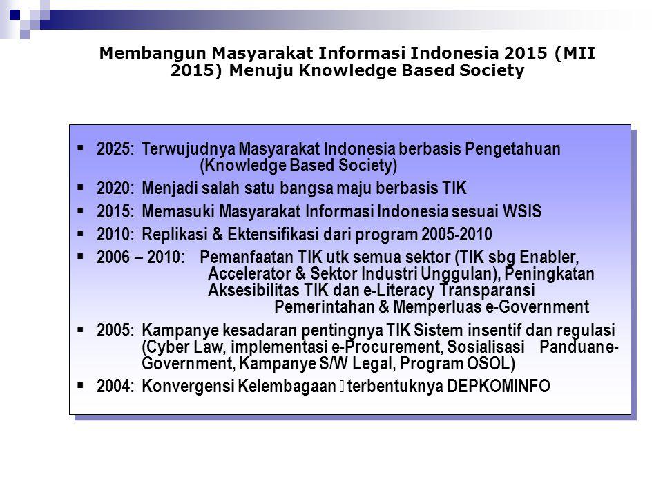 Membangun Masyarakat Informasi Indonesia 2015 (MII 2015) Menuju Knowledge Based Society  2025:Terwujudnya Masyarakat Indonesia berbasis Pengetahuan (