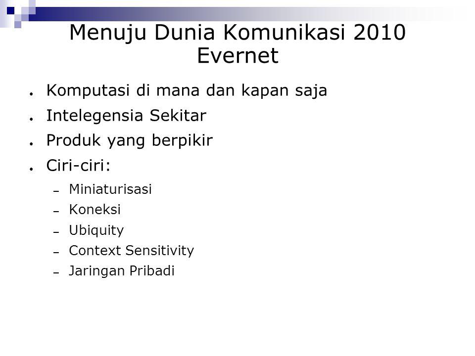 Menuju Dunia Komunikasi 2010 Evernet ● Komputasi di mana dan kapan saja ● Intelegensia Sekitar ● Produk yang berpikir ● Ciri-ciri: – Miniaturisasi – K