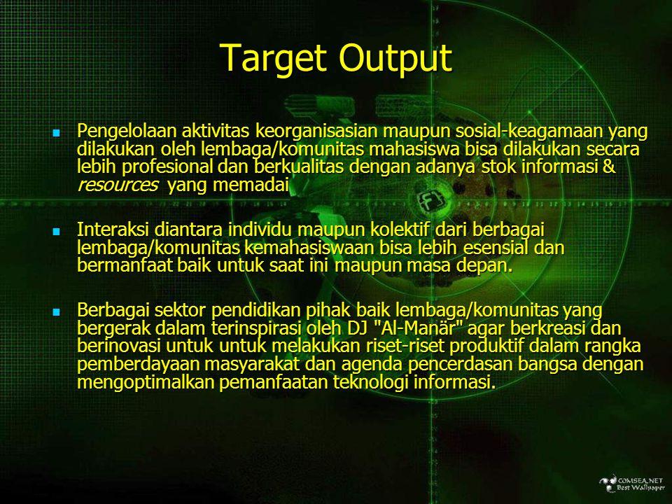 Target Output Pengelolaan aktivitas keorganisasian maupun sosial-keagamaan yang dilakukan oleh lembaga/komunitas mahasiswa bisa dilakukan secara lebih